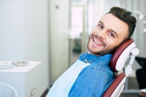 Relaxed male patient visiting sedation dentist in Torrington